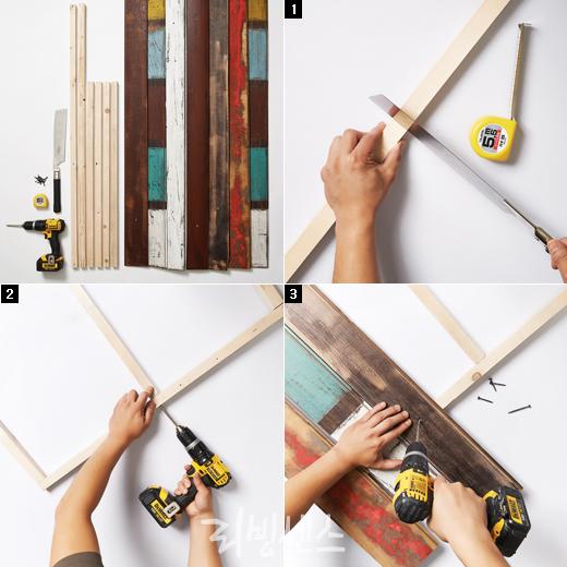 고목재로 만든 빈티지 침대 헤드보드 - 리빙센스:DIY